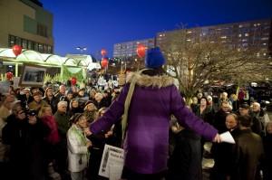 Vår förra demonstration vid Solna Centrum. Foto: Lars Epstein.